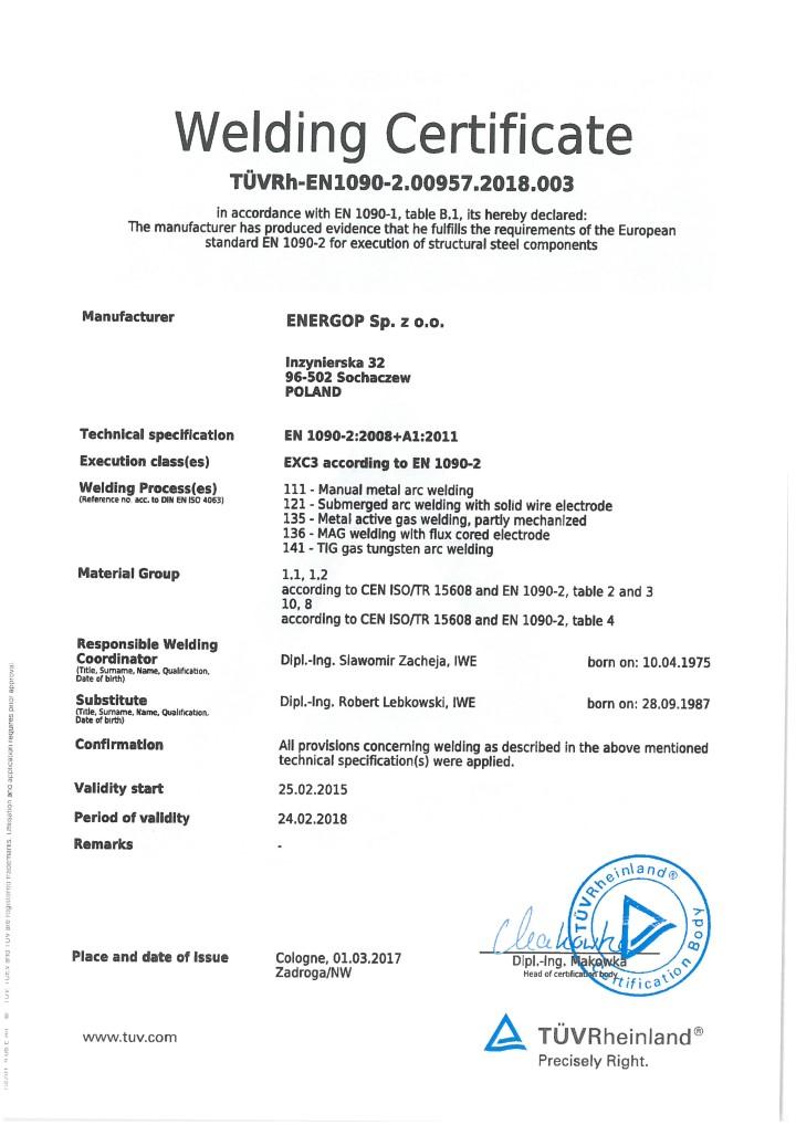 Certificates - ENERGOP Sp. z o.o.
